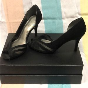 Shoes - Black suede and mesh peep toe heels